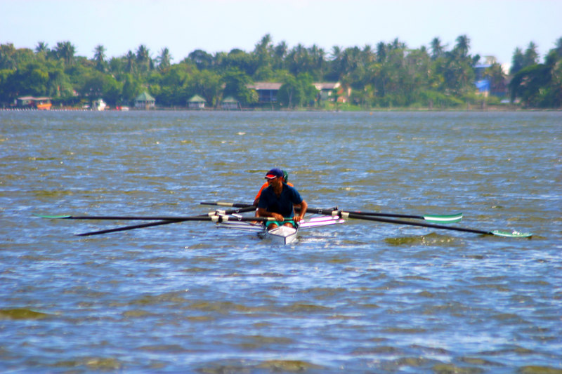The lightweight four heads out to practice on whitecaps.