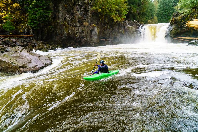 Andy Osadetz enjoying the fall rains paddling the Callaghan River near Whistler, British Columbia.