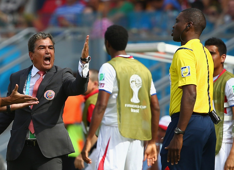 . Head coach Jorge Luis Pinto of Costa Rica reacts during the 2014 FIFA World Cup Brazil Group D match between Italy and Costa Rica at Arena Pernambuco on June 20, 2014 in Recife, Brazil.  (Photo by Robert Cianflone/Getty Images)