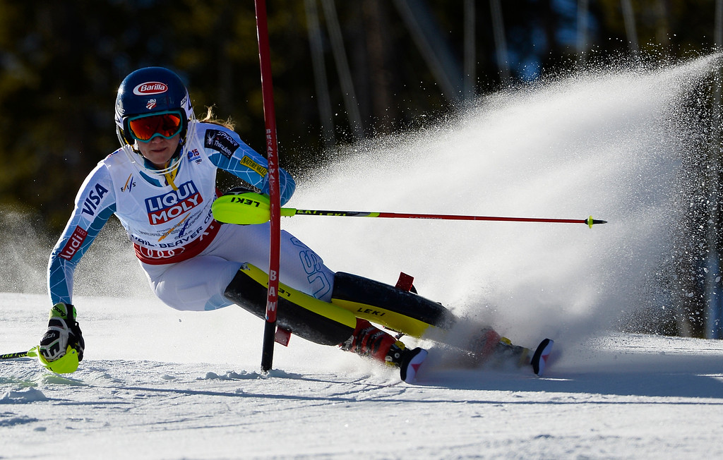 . Mikaela Shiffrin of the United States races in the Ladies slalom at the FIS Alpine World Ski Championships in Beaver Creek, CO. February 14, 2015. She is currently in first place after the first run. (Photo By Helen H. Richardson/The Denver Post)