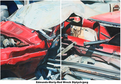 """Red Wreck Diptych"" (oil on canvas) Marty Edmunds"
