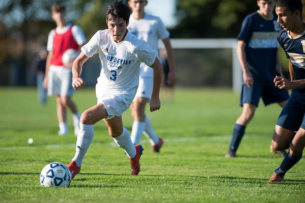 10/15/19 Wesley Bunnell | StaffrrPlainville boys soccer defeated host Newington 2-1 on Tuesday afternoon. Plainville's Trevor Rau (3).