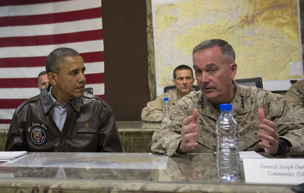 . US President Barack Obama attends a military briefing with General Joseph Dunfore, Commander of ISAF and US Forces Afghanistan, at Bagram Air Field, north of Kabul, in Afghanistan, May 25, 2014, during a surprise trip to visit US troops prior to the Memorial Day holiday.    SAUL LOEB/AFP/Getty Images