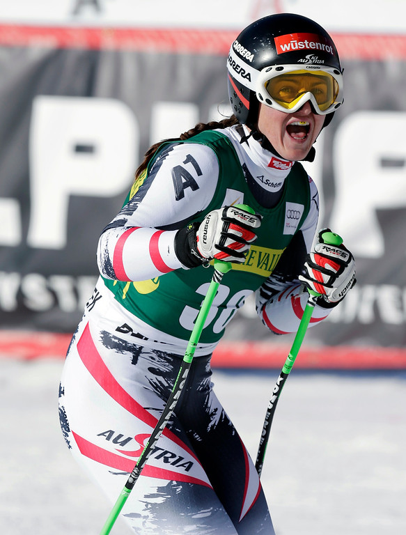 . Austria\'s Elisabeth Goergl stands after competing during the women\'s World Cup Downhill skiing event, Friday, Nov. 29, 2013, in Beaver Creek, Colo. (AP Photo/Julie Jacobson)