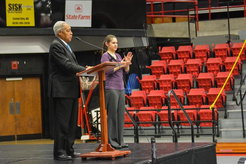 Dr. Albert Brinson in Paul Porter arena.