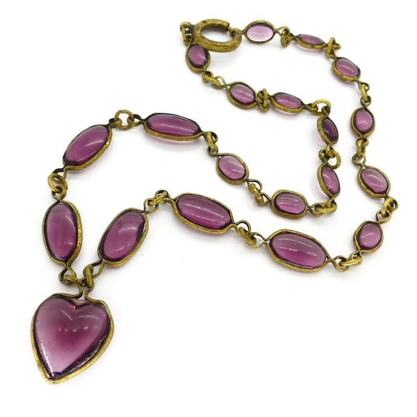 VINTAGE ART DECO BEZEL SET PURPLE GLASS HEART PANEL NECKLACE