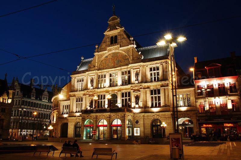 NTGent (Nederlands Toneel Gent) theatre on the St-Baafsplein in the centre of Ghent (Gent), Belgium.