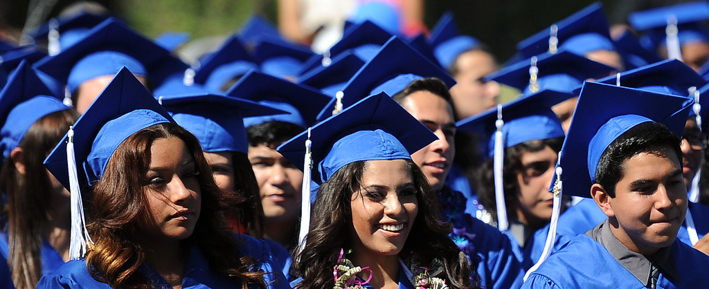 . Students listen to speakers during the El Camino High School commencement at El Camino High School on Wednesday, June 19, 2013 in Whittier, Calif.  (Keith Birmingham/Pasadena Star-News)