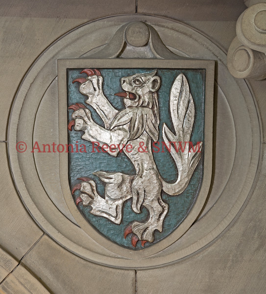 Stone Carving, Painted - Shield with Lion no Crown