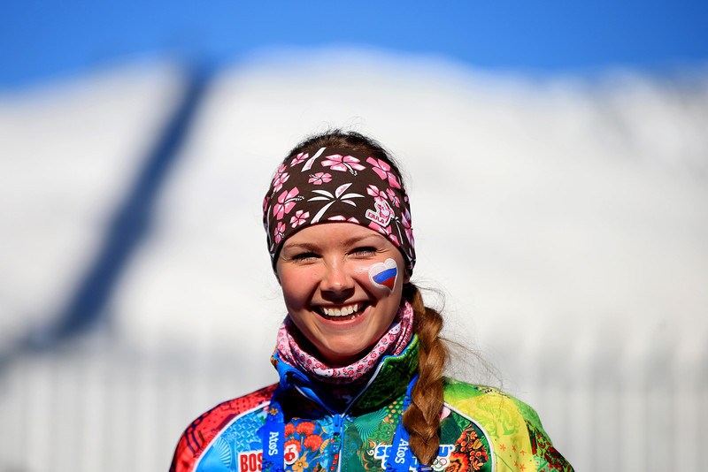 . A volunteer poses ahead of the Women\'s 10 km Classic during day six of the Sochi 2014 Winter Olympics at Laura Cross-country Ski & Biathlon Center on February 13, 2014 in Sochi, Russia.  (Photo by Richard Heathcote/Getty Images)
