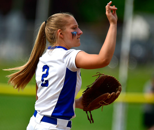 6/1/2019 Mike Orazzi | Staff Southington's Chrisala Marotto (2) during the Class LL Quarterfinal softball game with Ridgefield at Southington High School on Saturday.