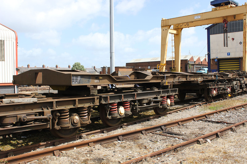 605009 on top of bogies upside down at Cardiff Canton 22/05/11