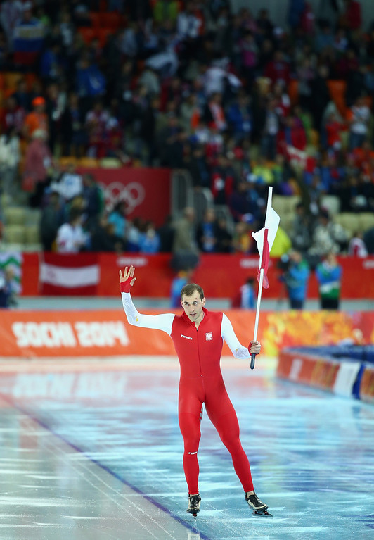 . SOCHI, RUSSIA - FEBRUARY 15:  Zbigniew Brodka of Poland celebrates after winning gold in the Speed Skating Men\'s 1500m on day eight of the Sochi 2014 Winter Olympics at Adler Arena Skating Center on February 15, 2014 in Sochi, Russia.  (Photo by Ryan Pierse/Getty Images)
