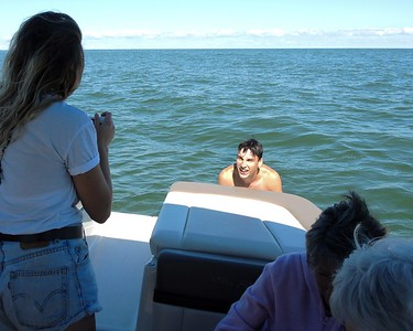 September 3, 2016, Caleb, Allysa, Jerry and Linda have a good day on Lake Erie.