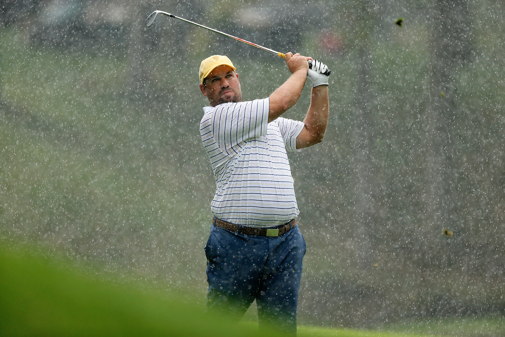 . DUBLIN, OH - OCTOBER 05:  Brendon de Jonge of Zimbabwe and the International Team watches a shot during the Day Three Four-ball Matches at the Muirfield Village Golf Club on October 5, 2013  in Dublin, Ohio.  (Photo by Gregory Shamus/Getty Images)