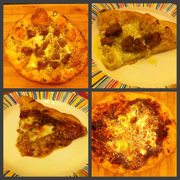 On the table tonite: white pizza with garlic, sausage and hot banana peppers; tomato and cheese #jux