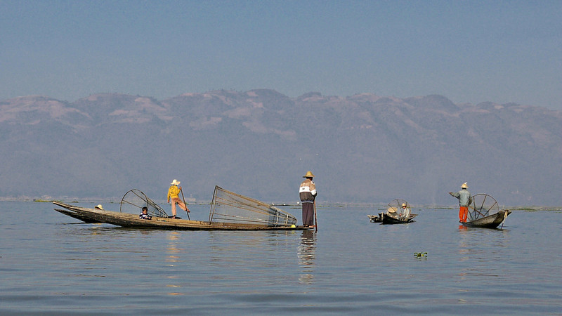 Fishermen, their boats and nets Inle Lake, Burma (Myanmar).