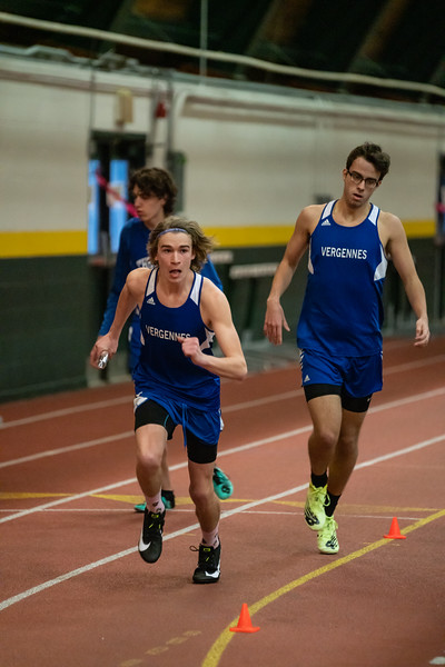 Junior Jarret Muzzy in the second leg of the 4x800 relay. VUHS takes home first place while setting an event record with a time of 8:42.92 in the Boys 4x800 relay. Vermont Division II Indoor Track State Championships - UVM Gutterson Field House - 2/16/2020