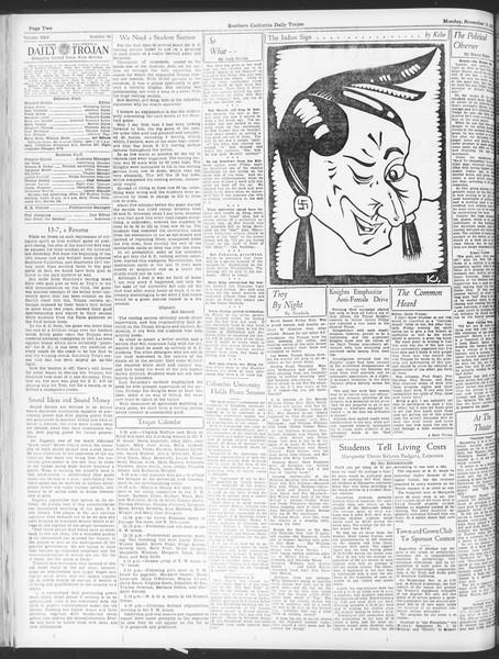 Daily Trojan, Vol. 25, No. 36, November 13, 1933