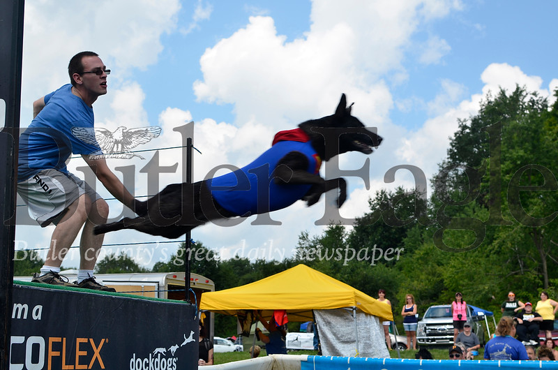 Heidi the 5-year-old black lab and German shepherd mix launches into a 14.11 foot jump at Saturday's DockDogs competition. Her owner, Jonathan Coady, dresses Heidi up in Superman outfits for such jumping competitions. He wore a matching T-shirt.
