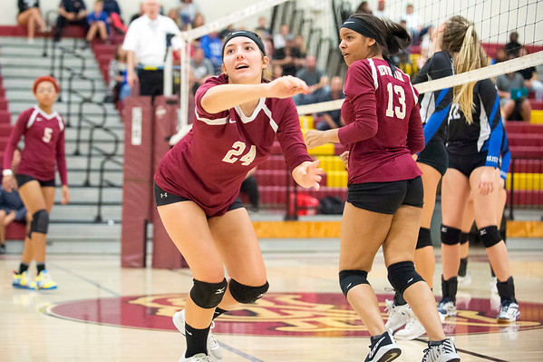 09/16/19 Wesley Bunnell | StaffrrNew Britain volleyball player Audrey Belliveau (24) watches as a ball sails out of bounds.