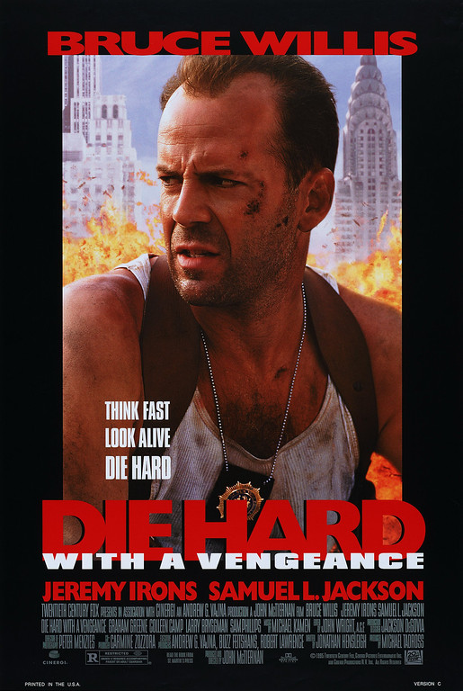""". \""""Die Hard with a Vengeance\"""" movie starring Bruce Willis as New York City Detective John McClane is released on 5/19/1995."""