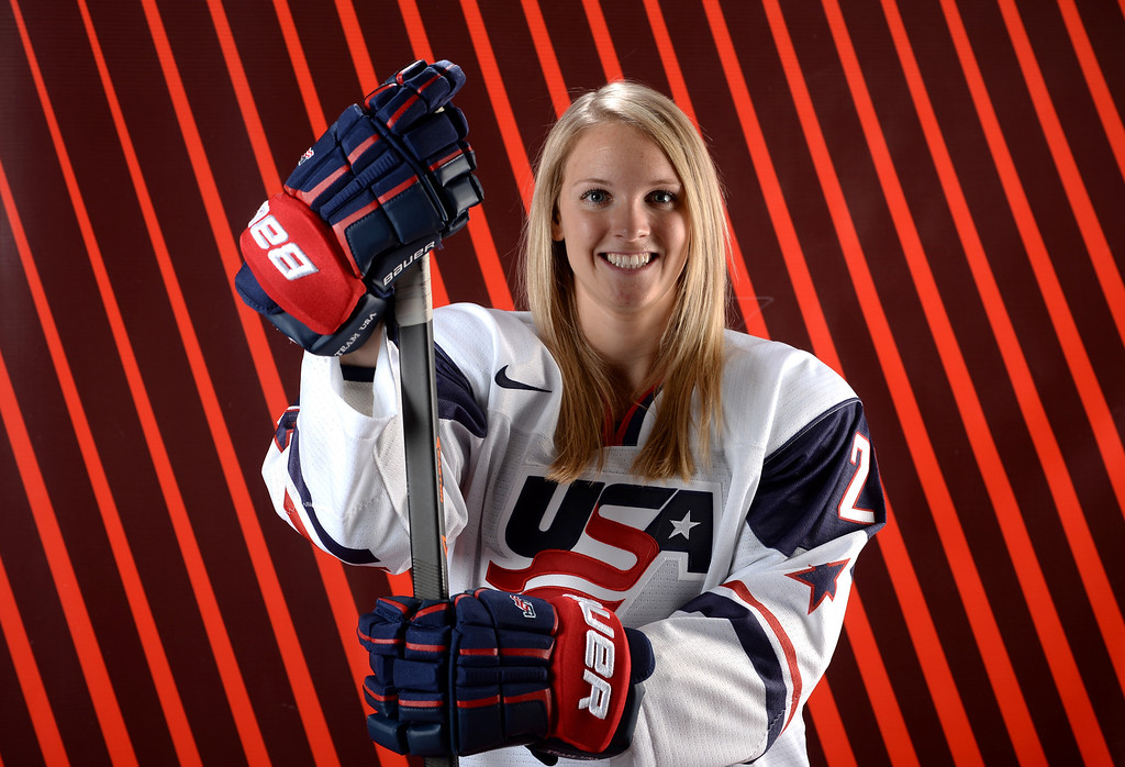 . Ice Hockey player Amanda Kessel poses for a portrait during the USOC Media Summit ahead of the Sochi 2014 Winter Olympics on October 2, 2013 in Park City, Utah.  (Photo by Harry How/Getty Images)