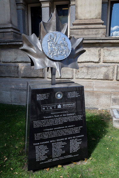 A monument to Canada's Team of the Century outside the Hockey Hall of Fame.