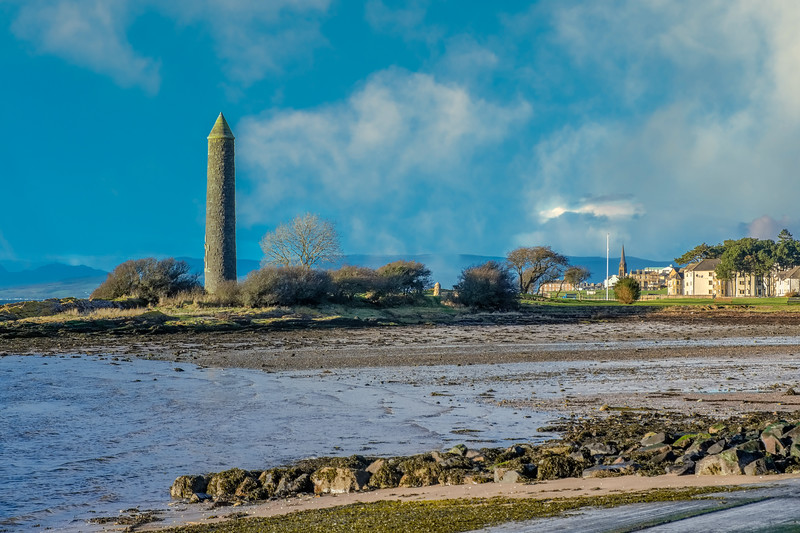 The Bay at the south end of largs on the west coast of Scotland and the Pencil Monument