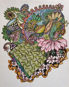 """Wisdom of the East"" (marker and colored pencil on watercolor paper) by Lyudmila Abramova"