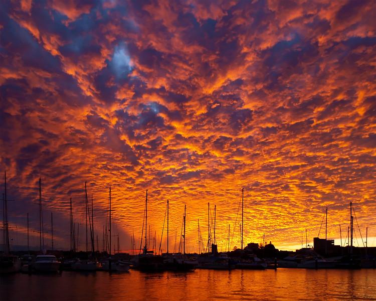 RED Cirrus Sunrise Seascape. Australia