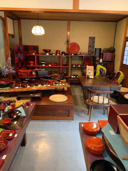 Walking to a lacquerware shop and  demonstration - Kiso Hirasawa, Shiojiri City, Japan.