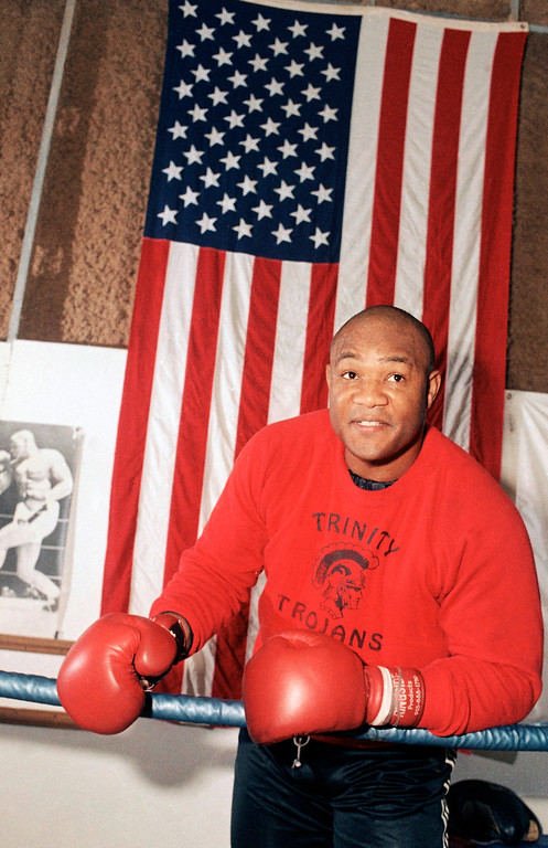 . Former heavyweight boxing champion, George Foreman, training in Houston, Jan. 21, 1987 for a scheduled 10-round comeback bout against Bob Hitzelburger of Chicago on February 6 in Cannes, France. Foreman has been retired for 10 years, and an evangelist during the time. He says he does not plan to give up evangelist work. (AP Photo/R. Carson)