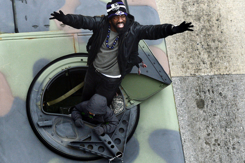 . Safety Ed Reed #20 of the Baltimore Ravens waves to fans as he and teammates celebrate during their Super Bowl XLVII victory parade near M&T Bank Stadium on February 5, 2013 in Baltimore, Maryland. The Baltimore Ravens captured their second Super Bowl title by defeating the San Francisco 49ers. (Photo by Patrick Smith/Getty Images)