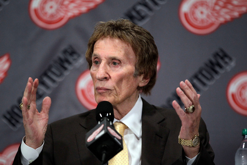 . Detroit Red Wings owner Mike Ilitch addresses the media after captain Nicklas Lidstrom of Sweden announced his retirement during a news conference in Detroit, Thursday, May 31, 2012. Lidstrom retires after a 20-season career.  (AP Photo/Carlos Osorio)