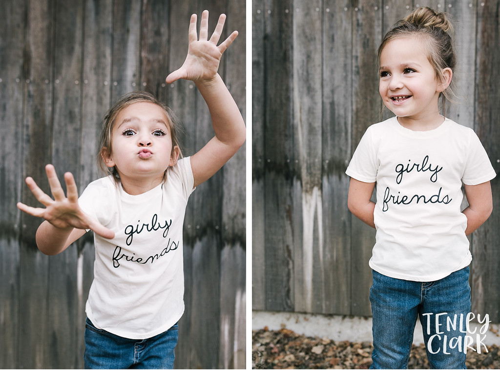 Girly friends tee. Playful kids fashion commercial brand shoot  for B+C California a kids t-shirt company in Bay Area by Tenley Clark Photography.