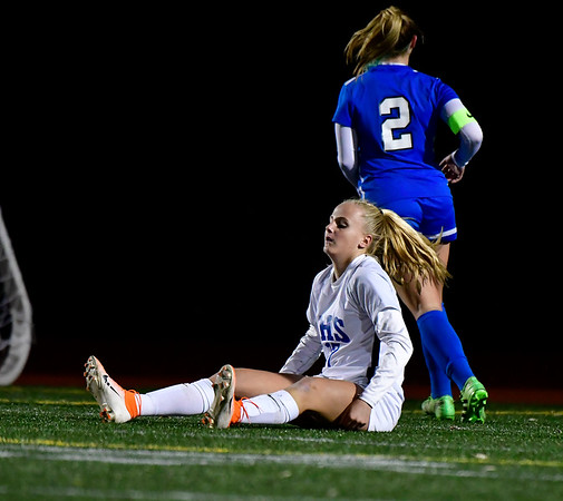 11/23/2019 Mike Orazzi | StaffrSouthington High Schools Jordan Beaudoin (2) and Glastonbury's Samantha Forrest (17) during the Class LL Girls State Soccer Tournament at Veterans Stadium in New Britain Saturday evening. Glastonbury won 1-0. r