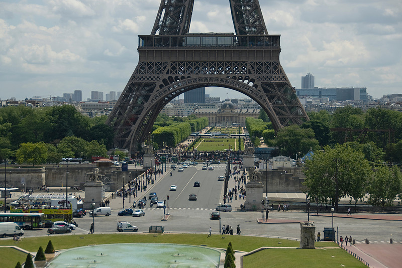 Street scene below the Eiffel Tower in Paris, France