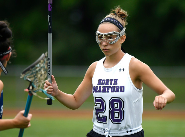 5/31/2018 Mike Orazzi | Staff North Branford High School's Bianca D'Onofrio (28) during the girls Class S Quarterfinals lacrosse at North Branford High School Thursday evening.