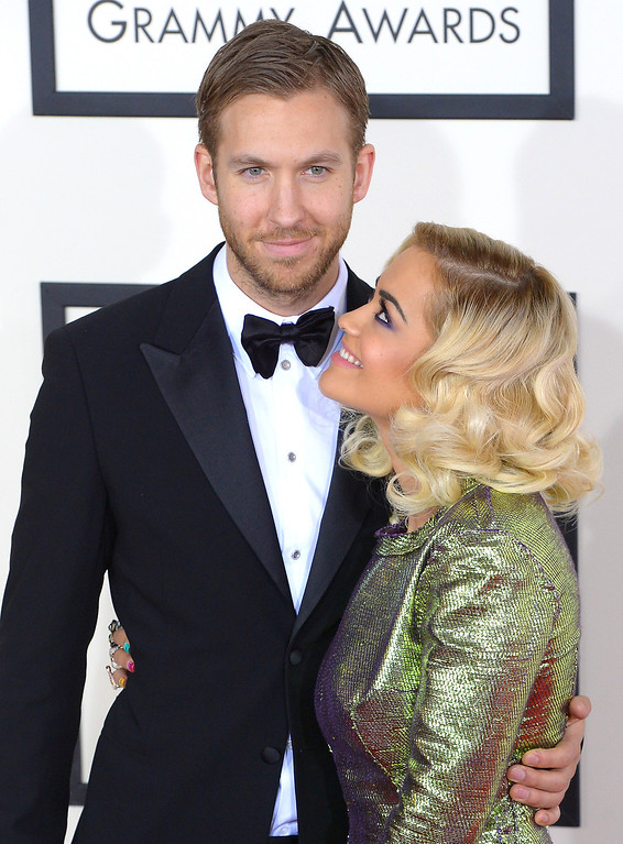 . Calvin Harris and Rita Ora arrive at the 56th Annual GRAMMY Awards at Staples Center in Los Angeles, California on Sunday January 26, 2014 (Photo by David Crane / Los Angeles Daily News)