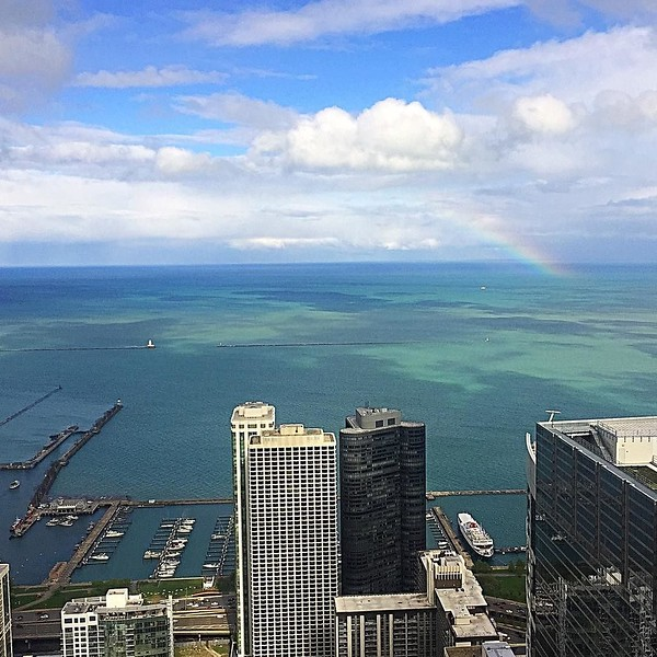Gorgeous #rainbow over #LakeMichigan today
