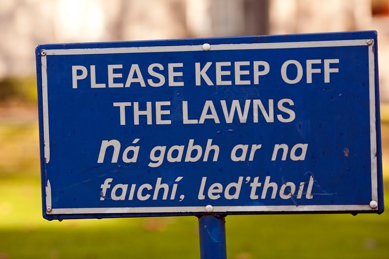 English and Gaelic sign, Trinity College, Dublin, Ireland