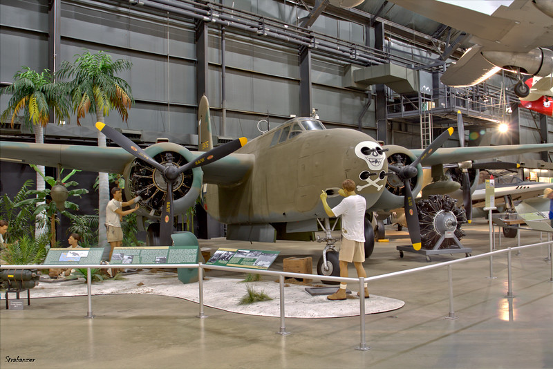 """National Museum of the United States Air Force, Dayton, Ohio,   04/12/2019  Douglas A-20G Havoc c/n 21847  43-22200    Painted here as A-20G-40-DO     43-21475 """"Little Joe""""  This work is licensed under a Creative Commons Attribution- NonCommercial 4.0 International License."""