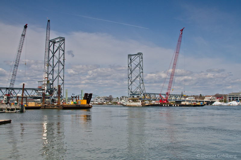 fixed sections of the bridge are in place, waiting for the center span