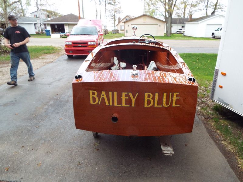 Rear view of Bailey Blue outside for the first time.