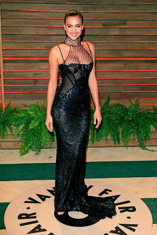 . Irina Shayk arrives for the Vanity Fair Oscar After-Party following the 86th annual Academy Awards ceremony in Hollywood, Los Angeles, California, USA, 02 March 2014.  EPA/NINA PROMMER