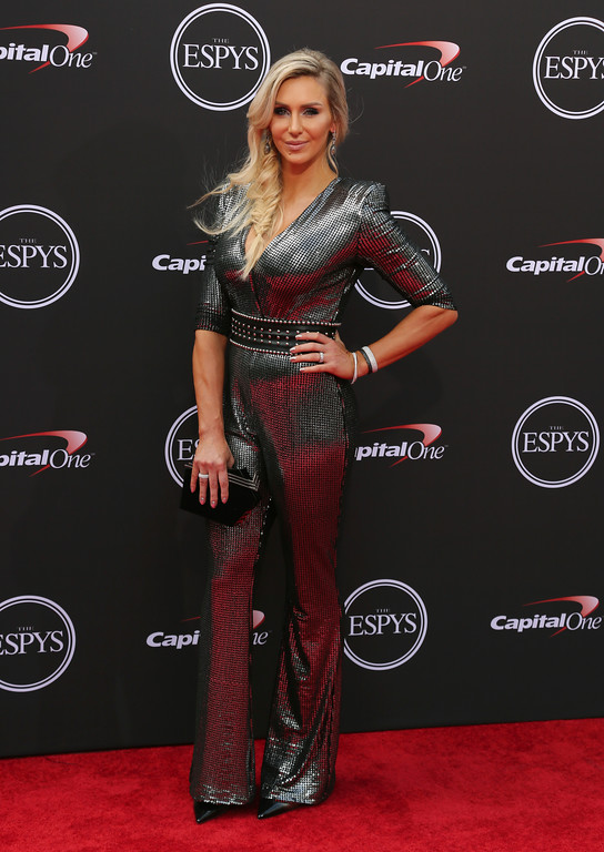 . Wrestler Charlotte Flair arrives at the ESPY Awards at Microsoft Theater on Wednesday, July 18, 2018, in Los Angeles. (Photo by Willy Sanjuan/Invision/AP)