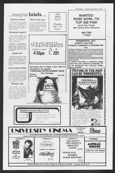 Daily Trojan, Vol. 75, No. 47, December 04, 1978