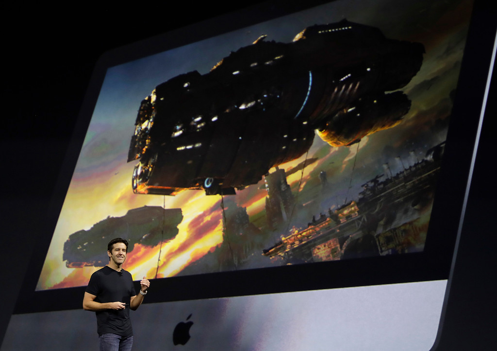 . Apple\'s John Ternus speaks during an announcement of new products at the Apple Worldwide Developers Conference in San Jose, Calif., Monday, June 5, 2017. (AP Photo/Marcio Jose Sanchez)