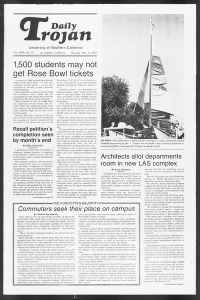 Daily Trojan, Vol. 72, No. 32, November 03, 1977